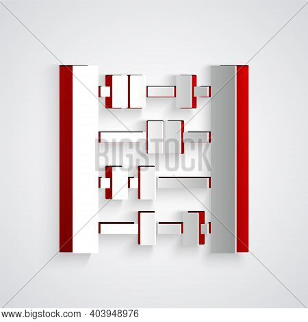 Paper Cut Abacus Icon Isolated On Grey Background. Traditional Counting Frame. Education Sign. Mathe