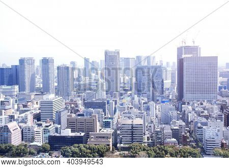 Aerial view of Tokyo - capital city of Japan, Asia. View from Tokyo Tower. Photo toned in blue color