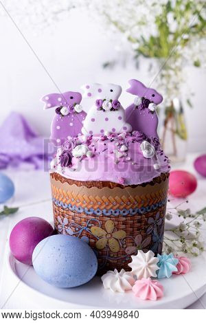 Easter Table With Traditional Holiday Easter Cakes, Painted Eggs And Flower Branches. Kulich Is Deco