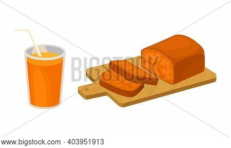 Sliced Sweet Pumpkin Muffin And Juice In Glass With Straw Vector Set