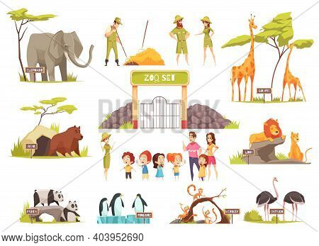 Cartoon Set Of Happy Children With Their Parents Looking At Various Animals At Zoo Isolated On White