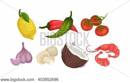 Hot Pepper And Tomatoes As Ingredients For Tom Yum Or Tom Yam Thai Soup Vector Set