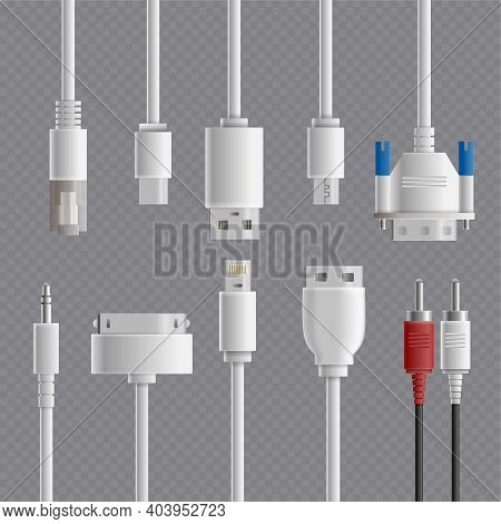 Realistic Cable Connectors Types Transparent Set With Images Of Computer And Multimedia Connectors O