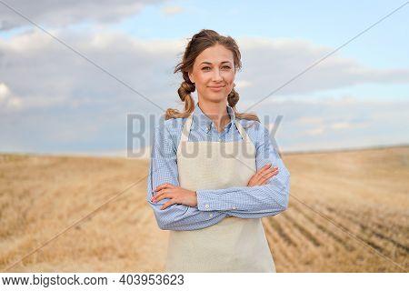 Woman Farmer Apron Standing Farmland Smiling Female Agronomist Specialist Farming Agribusiness Happy