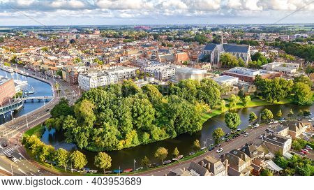 Aerial Drone View Of Alkmaar Town Cityscape From Above, Typical Dutch City Skyline With Canals And H