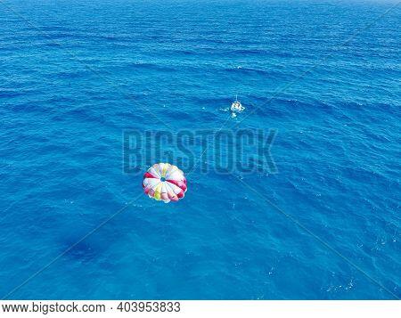 Drone Photo Of Parasail At Playa Ballenas, Cancun, Mexico