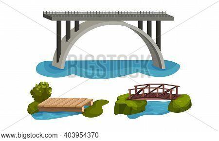 Wooden And Metal Bridge As Road Over Water Vector Set