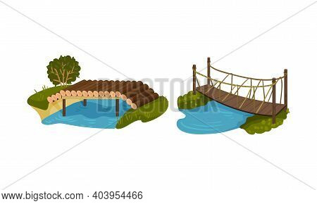 Wooden Bridge Made Of Logs And Rope As Road Over Water Vector Set