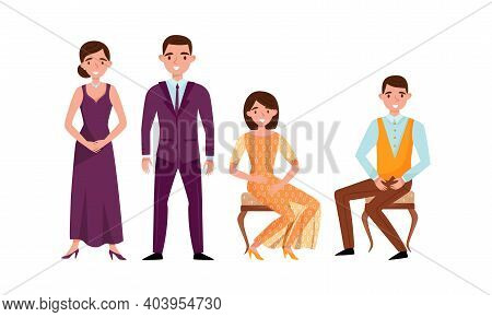 Young Man And Woman Dressed In Elegant Attire Sitting And Standing Vector Set
