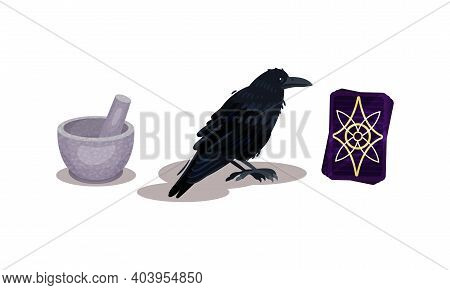 Fortune Telling Objects With Black Cat And Candle Vector Set