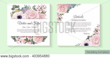 Floral Template For Wedding Invitation. Pink Roses, Anemones, Magnolia, Succulent Plants, Green Plan