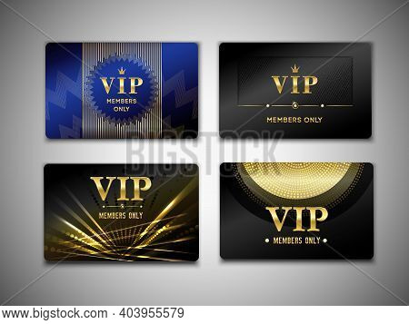 Vip Cards Design Template On Black Background With Inscription Member Only, Golden Geometric Element