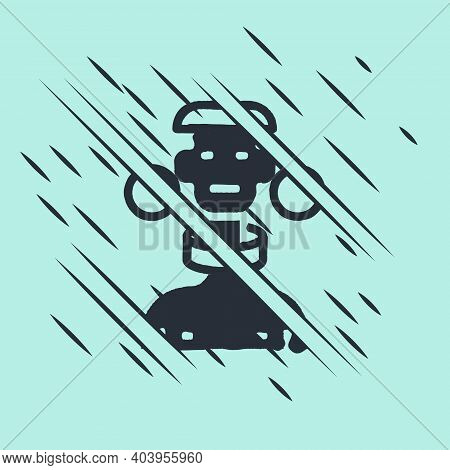 Black African Tribe Male Icon Isolated On Green Background. Glitch Style. Vector
