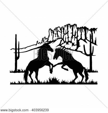Stallions, Fighting Horses Wildlife Stencils - Silhouettes Vector