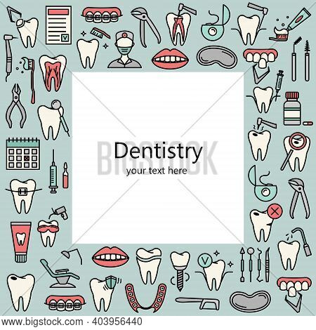 Template With Line Dentistry Icons. Dental Flat Vector Elements.
