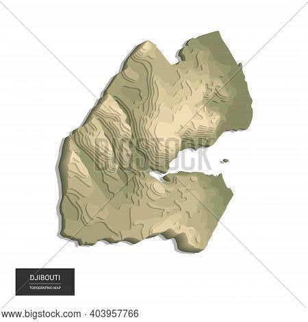 Djibouti Map - 3d Digital High-altitude Topographic Map. 3d Vector Illustration. Colored Relief, Rug