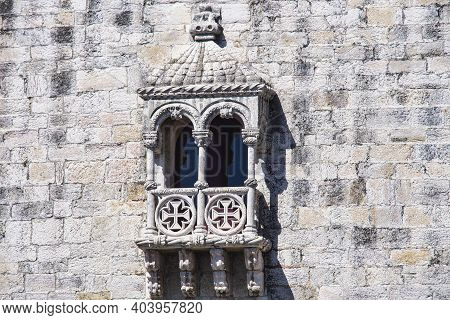 Detail Of Belem Tower, A Fortified Tower Located In The Civil Parish Of Santa Maria De Belem In Lisb
