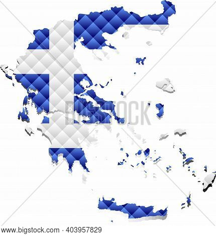 Mosaic Map Of The Greece - Illustration,  Three Dimensional Map Of Greece