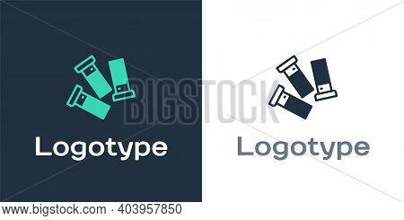 Logotype Cartridges Icon Isolated On White Background. Shotgun Hunting Firearms Cartridge. Hunt Rifl