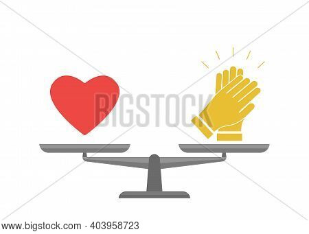 Bowls Of Scales In Balance Love And Approved. Heart And Applause Sign In Comparison. Libra Measure V