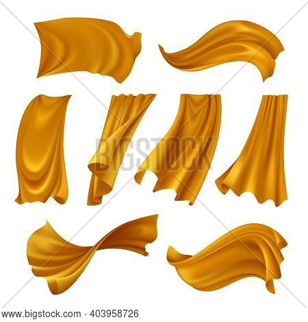 Set Of Realistic Gold Pieces Of Cloth Fluttering On Wind Isolated On White Background Vector Illustr