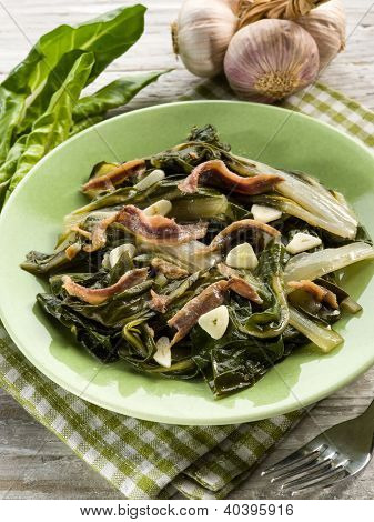 boiled swiss chard salad with anchovy and garlic