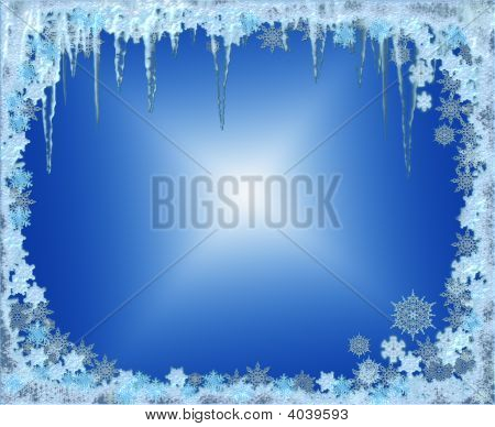Frosty Christmas Frame With Snowflakes And Icicles