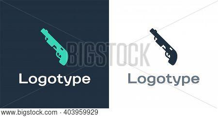 Logotype Police Shotgun Icon Isolated On White Background. Hunting Shotgun. Logo Design Template Ele