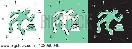 Set Crime Scene Icon Isolated On White And Green, Black Background. Vector