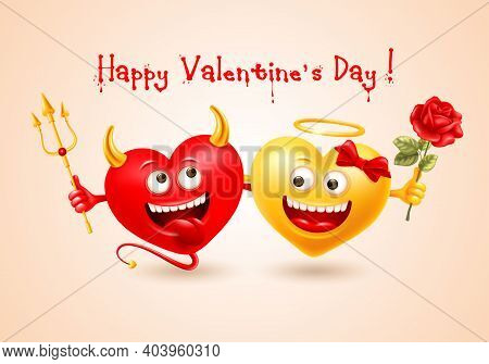 Happy Valentines Day Greeting With Cheerful Realistic Devil Heart With Trident And Angel Heart With
