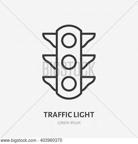 Traffic Light Flat Line Icon. Vector Outline Illustration Of Simple Traficlight. Black Color Thin Li