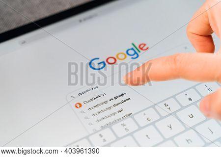 Poltava, Ukraine - Jan 2021 Googling Duckduckgo Searching Engine For Private Online Usage. Data Secu