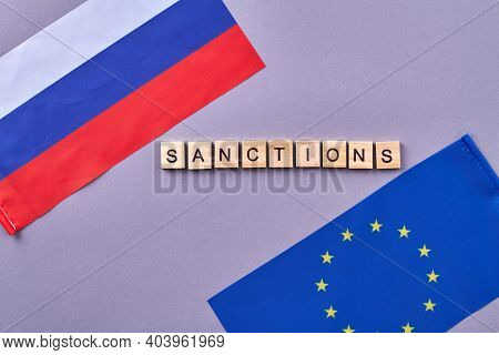 Sanctions Between Russia And European Union. Isolated On Grey Background.