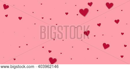 Red Heart Love Confettis. Valentines Day Falling Rain Trending Background. Falling Stitched Paper He