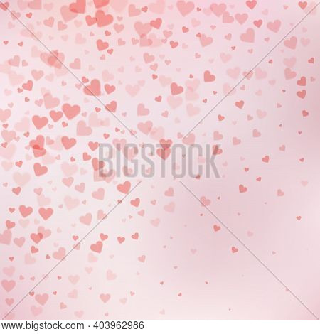 Red Heart Love Confettis. Valentines Day Gradient Authentic Background. Falling Transparent Hearts C