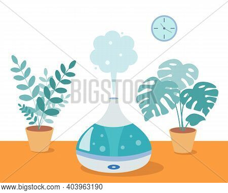 Humidifier With Home Plants On The Table In The Room. Ultrasonic Device, Air Aromatization. Vector I