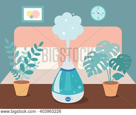 Humidifier In The Bedroom With Home Plants On The Table. Ultrasonic Device, Air Aromatization. Vecto