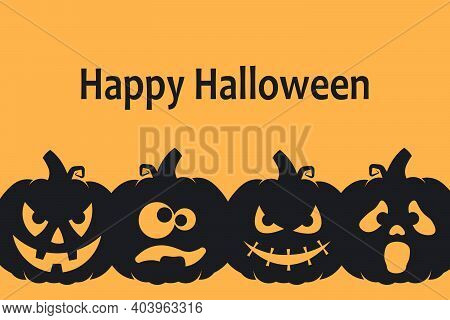 Happy Halloween Background Design With Crazy, Spooky And Funny Pumpkins. Vector Illustration