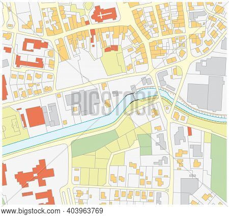 Imaginary Cadastral Map Of An Area With Buildings And Streets 5