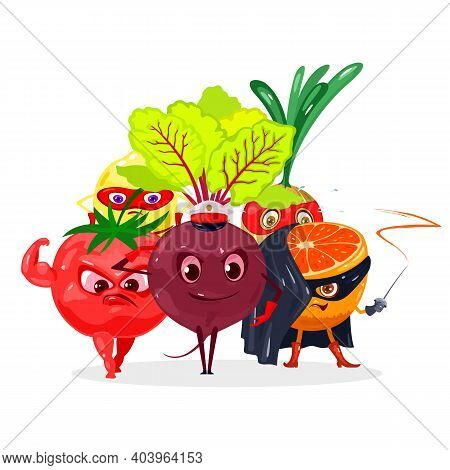 Collection Of Tomato, Lemon, Onion, Orange And Beetroot, Characters With Eyes, Legs, Hands And Weapo