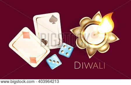 Two Blue Dice, Two Playing Card, Burning Candle