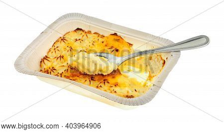 Cheap Mashed Potato Topped Fish Pie Convenience Meal Isolated On A White Background