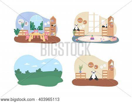 Preschool Classes 2d Vector Web Banner, Poster Set. Kindergarten Flat Scene On Cartoon Background. C