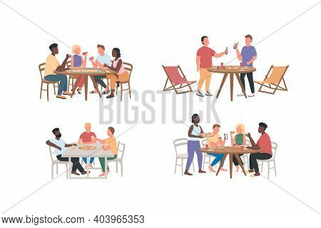 Friends Having Fun Together Flat Color Vector Faceless Characters Set. Men, Women Eat Pizza. Weekend