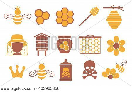 Vector Icons Set For Creating Infographics Related To Bees, Pollination And Beekeeping Like Honey Ja
