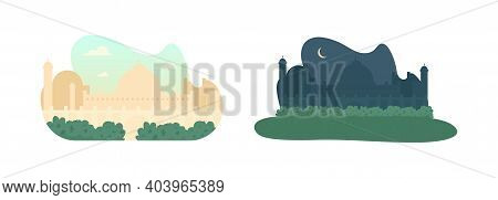 Daytime And Nighttime Mosque 2d Vector Web Banner, Poster Set. Muslim Minaret. Arabian Flat Cityscap