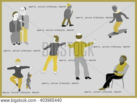 Elderly People Playing Sports And Vacationers.  Active Lifestyle.  Vector Clip Art On Gray With Shad