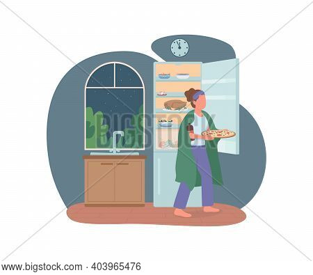 Late Night Eating 2d Vector Web Banner, Poster. Nighttime Meal. Woman With Fast Food In Kitchen Flat