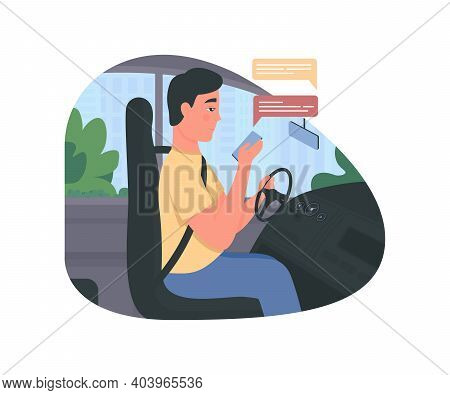 Texting While Driving 2d Vector Web Banner, Poster. Man In Car Seat. Driver With Smartphone Flat Cha