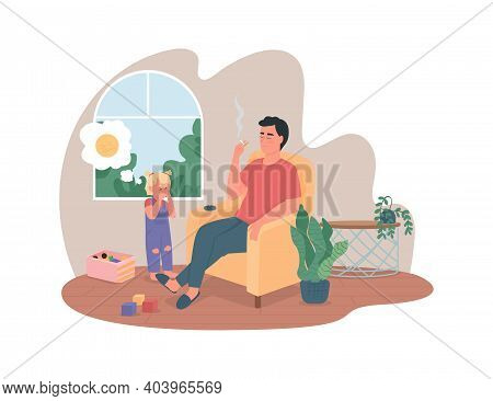 Harm From Smoking 2d Vector Web Banner, Poster. Father With Cigarette Near Upset Daughter Flat Chara